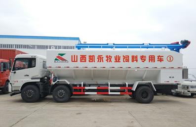 东方天锦10吨散装饲料车车身实拍图